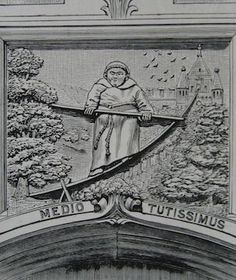 """Illustration of the engraving of the """"Blondin' Friar"""" that is carved above the door on the Middle Lodge at Friar Park."""