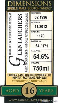 Duncan Taylor Dimensions–Glentauchers 16 Years Old, Imperial 17 Years Old, North British 34 Years Old Single Malt Scotch Whisky