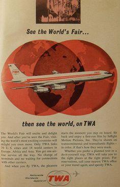 1964 1965 worlds fair vintage graphics advertisement TWA trans world airlines