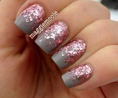 Prom Nails / Essence Grey-t To Be Here with Essie A Cut Above for the reverse glitter gradient