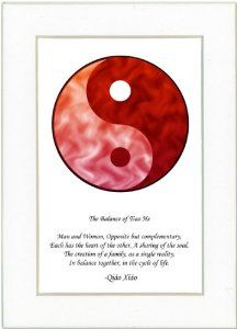 "5x7 Yin Yang Print (Red/Red) with White Mat by Oriental Design Gallery. $9.45. High resolution prints on high quality glossy paper. Each print is mounted on acid-free mat board by using acid free adhesive. Print size is 5"" x 7"", Mat Opening is 3"" 1/2 x 5 1/2"".. Made in USA. This is a Yin Yang Print with an original Chinese Proverb written by Qiao Xiao. The proberb is entitled ""The Balance of Tiao He"", the proverb says: ""Man and Woman, Opposite but Complementary, Each has ..."