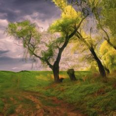 Use many shades of green to paint realistic grass.