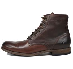 Frye Tyler Lace Up Mens Boot Dark Brown Handcrafted from soft vintage leather, some of its amazing details include the rawhide leather laces, precision stitching, rubbers insets on leather sole, and t
