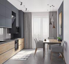 Modern Kitchen Design 44 m - Галерея Kitchen Room Design, Modern Kitchen Design, Home Decor Kitchen, Interior Design Living Room, Gold Kitchen, Kitchen Layout, Diy Kitchen, Kitchen Ideas, Home Interior