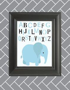 Nursery Alphabet Art- Safari Animal-- Blue elephant, Baby room, kids room- 8x10 print