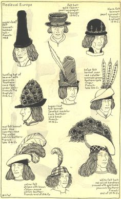 Medieval Europe, 2nd half of the 15th century. THE MODE IN HATS AND HEADDRESSBy R. Turner Wilcox