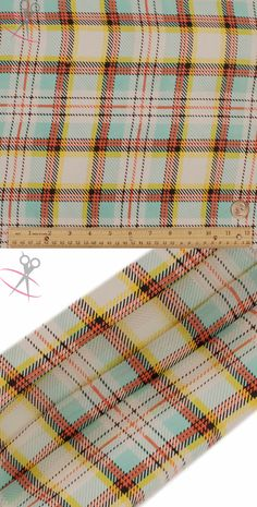 5 Central colors work together to create this magnificent Tartan pattern. A new take on classic checkers, the tartan pattern uses a blend of solid and striped lines going parallel and perpendicular from one another. The result is a plaid design with crisscrossing colors and a changing thickness of the lines. The five colors used are Coral, Yellow, Black, Mint & Off White.