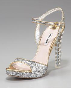 Miu Miu Jewel-heel Glitter Platform Sandal in Gray (anthracite black) | Lyst
