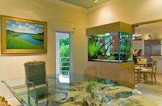 contemporary aquariums design on the wall partition as well beige paint wall including large glass table