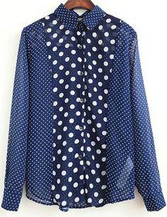 Blue Lapel Long Sleeve Polka Dot Blouse - Sheinside.com