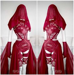 "ASKASU (@askasublue) on Instagram: ""Details #designer #red #rubin #hood #harness #chiffon #fauxleather #vegan #alternative #goth #dark…"""