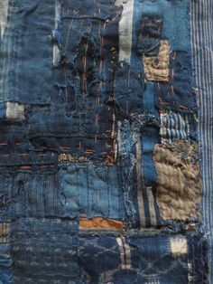 Antique Japanese Indigo Boro Textie - hand woven natural indigo - heavy patchwork