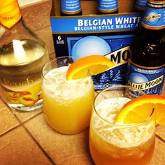 Peach Moon ~ Blue Moon, shot of Peach Schnapps, and splash of Orange Juice.
