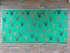 December Birthday Bulletin Board- Reindeer with Red Pom-Pom Noses
