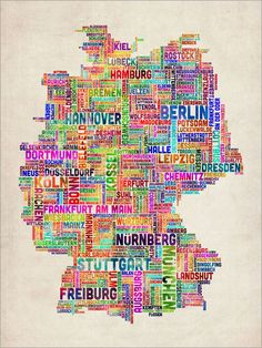 Typography Text Map of Germany Art Print.  The perfect art piece for the German Club President :)