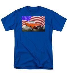 1965 Ford Mustang convertible and United States Flag T-shirt many sizes, colors and styles to choose from. 100% Satisfaction Guarantee.
