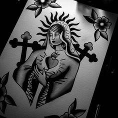 By Lucas Nascimento #santamaria  #santa #maria #corçãosagrado  #sacredHeart  #blackwork