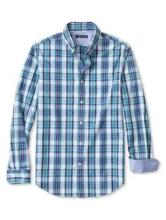 Banana Republic – Soft-Wash Plaid Contrast-Cuff Shirt 	 *** Why Tall Guys Love It ***  Quality happy hour shirt with tall sleeves (check size chart). Size XLT has 37″ sleeves.