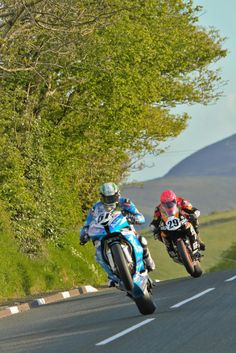 Marco Pagani and Davy Morgan head onto the Cronk y Voddy, Friday evening practice at the Racing Motorcycles, Super Bikes, Road Racing, World Championship, Choppers, Motogp, Grand Prix, Motorbikes, Devil