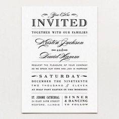 """METROPOLITAN WEDDING INVITATION  The definition of classic with a twist. A whimsical combination of old-fashioned fonts creates a unique way to present your joyous news.  DETAILS: Regular Card Size: 5"""" x 7"""" Shown in: Black  TURNAROUND TIME: You will receive your first electronic proof within 3-5 business days. If you need it faster, we offer aRush Service Option—receive your digital proof in 1 business day!    Choose Printed Invitations or DIY-Printable*:   ♥ Add to wishlist       Next → ←…"""