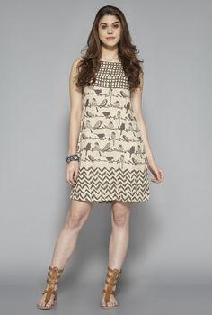 71223f114e9 Buy Bombay Paisley by Westside Beige Bird Printed Dress for Women Online   Tata  CLiQ