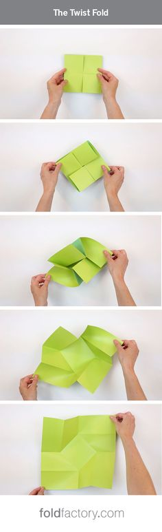 "The Twist Fold uses a series of perpendicular folds to ""twist"" a large square sheet down to a compact folded package. The reveal is exceptional. Great for wedding and event invitations! Get a folded sample and dieline here: http://foldfactory.com/offering/twist#c=1566&cp=1"