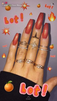 Make an original manicure for Valentine's Day - My Nails Gorgeous Nails, Pretty Nails, Hair And Nails, My Nails, Acrylic Nail Shapes, Fall Acrylic Nails, Dope Nails, Orange Nails, Holographic Nails