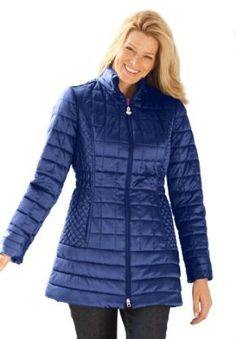 Woman Within Plus Size Coat With Rich, Varied Quilting And Shaping Seams (Dark Navy,3X) Woman Within. $69.99
