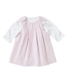 Mothercare Pink Spot Cord Pinafore Set - Pink