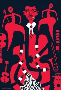 Jazz hands - image inspired by jazz guitarist Django Reinhardt, courtesy of illustrator Nearchos Ntaskas.