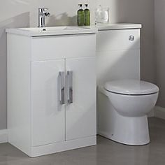 View Cooke & Lewis Ardesio Gloss White LH Vanity & Toilet Pack details