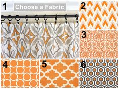 PAIR of Orange Curtain Panels Drapery 63 84 96 by TheDesignerTouch