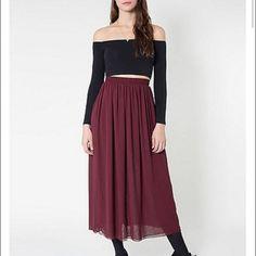 double chiffon american apparel skirt maroon size xs/a American Apparel Skirts