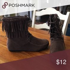 Brown Moccasin Boots Brand new, Never Been Worn brown fringe moccasin boots! Shoes Moccasins