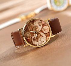 world map watch brown leather bracelet wrap watch von lydiafavorite, $2.98