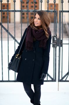 Winter outfit from Mariannan blog - black Zara coat,  Topshop jeans, Prada bag and maroon/purple Acne scarf.