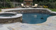 Natural stone coping and patio! Outdoor Spaces, Outdoor Living, Outdoor Decor, Outdoor Ideas, Pool Plaster, Pool Finishes, Custom Pools, Small Pools, Backyard Makeover