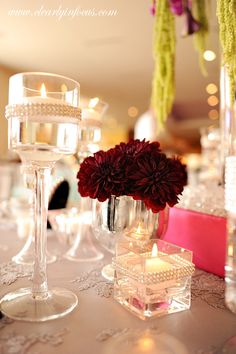 Gorgeous burgundy dahlias from Lee Forrest Design.  Candle elements and event design by Save the Date! llc.  Photography by Clearly In Focus Photography.