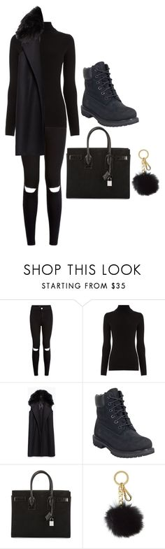 """All Black Winter Outfit"" by heart-break ❤ liked on Polyvore featuring Warehouse, Zara, Timberland, Yves Saint Laurent and Michael Kors"