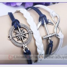 Fashion Jewelry: Unisex Bracelet Leather Bracelet Ship Anchor Compa...