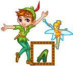Alfabeto de Peter Pan y Tinkerbell con marco animado.