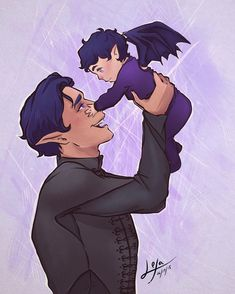 This is quite possibly the cutest thing I have ever seen. Rhysand and baby Feysand. ACOTAR is such an amazing series. The artist of this masterpeice is A Court Of Wings And Ruin, A Court Of Mist And Fury, Fanart, Feyre And Rhysand, Sarah J Maas Books, Throne Of Glass Series, Book Fandoms, Book Characters, Illustrations
