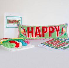 happy cross stitch kit by emily peacock | notonthehighstreet.com