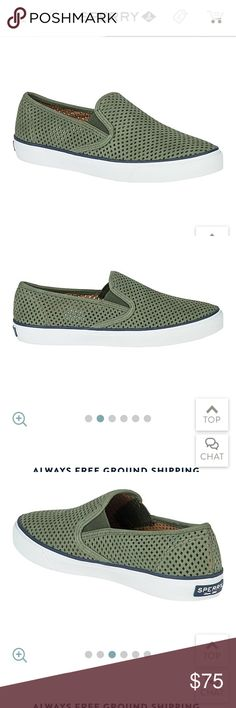 NWT Sperry Seaside Perforated Sneakers Super cute Sperry slip on sneakers! Hunter green color. Order from Sperry but ended up not loving them and now it's too late to return! Sperry Shoes Flats & Loafers