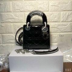 e4d7f5a28133 Christian Dior woman chain handbag original leather version mini ladydior  bag patent black silver