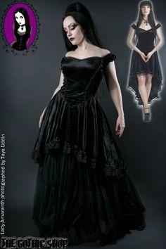 Black Velvet Off-Shoulder Fishtail Gothic Dress by Sinister