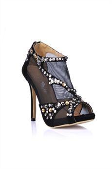 Sexy Black Stiletto Heels Peep Toe Prom Evening Shoes