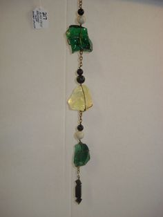 Green and yellow glass mobile or wall hanging $45.00 See www.solcatchers.net for more!