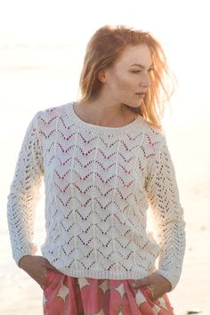 Women's Lace Sweater Free Knitting Pattern. Skill Level: Intermediate Knitted in Novita Baby Wool, this beautiful sweater features different lace patterns for the bodice and the sleeves. Free Pattern More Patterns Like This! Free Knitting Patterns For Women, Sweater Knitting Patterns, Lace Knitting, Knit Crochet, Pullover Design, Sweater Design, Summer Knitting, Knit Sweater Dress, Vestidos