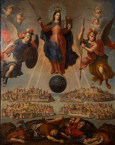 """La Divina Reyna Maria SSma. de la Aurora, que destierra las tinieblas de la Heregia"""". Andrés López. óleo sobre tela. 1763. Sala Mariana. Pinacoteca de la Profesa, México, D. F., https://www.facebook.com/Oratorianos/photos/pcb.937092963020899/937090506354478/?type=1&theater"""